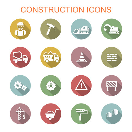 under construction sign with man: construction long shadow icons