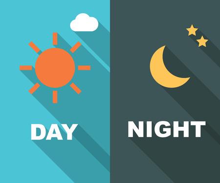 sonne mond und sterne: Tag und Nacht lange Schatten Flach Illustration