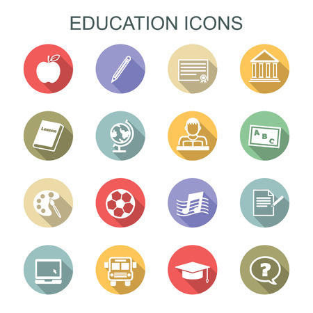 high school student: education long shadow icons