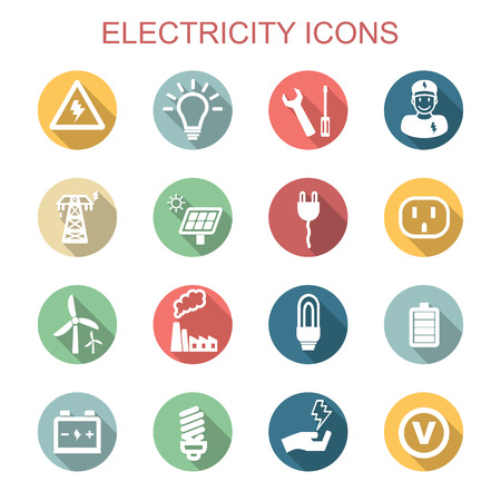 electricity long shadow icons 向量圖像