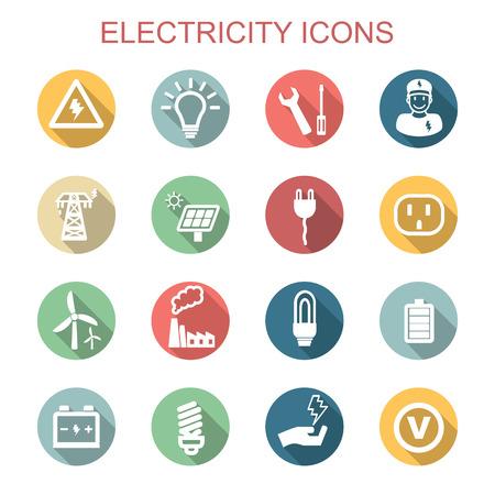 LEctricité à long ombre icônes Banque d'images - 33061887