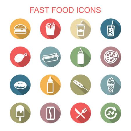 alimentos y bebidas: de comida rápida iconos larga sombra