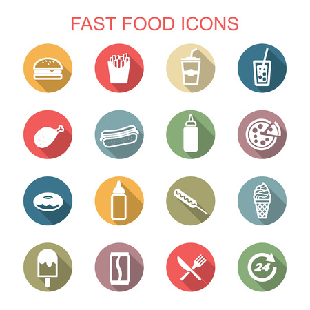 unhealthy food: fast food long shadow icons Illustration