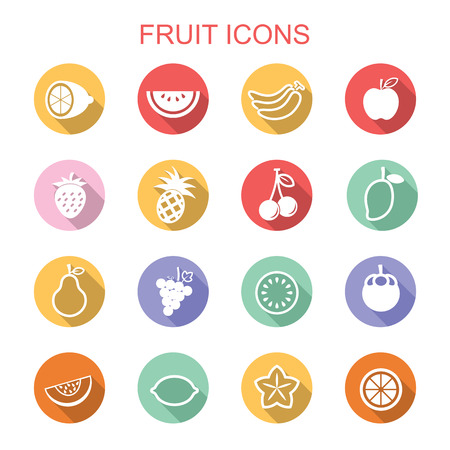 fruit long shadow icons Vector