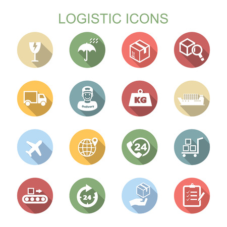 logistic long shadow icons Vector