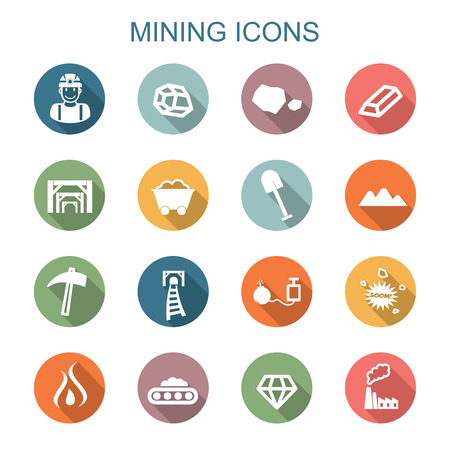 mining long shadow icons Vector