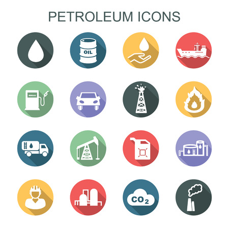 fuel storage tank: petroleum long shadow icons Illustration