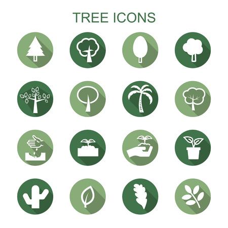 kompost: Baum langen Schatten Symbolen, Flachvektorsymbole