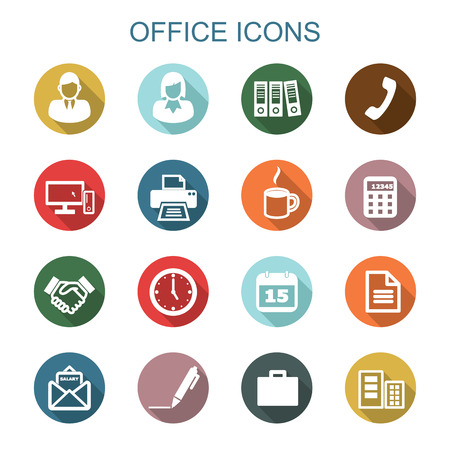 lady clock: office long shadow icons, flat vector symbols