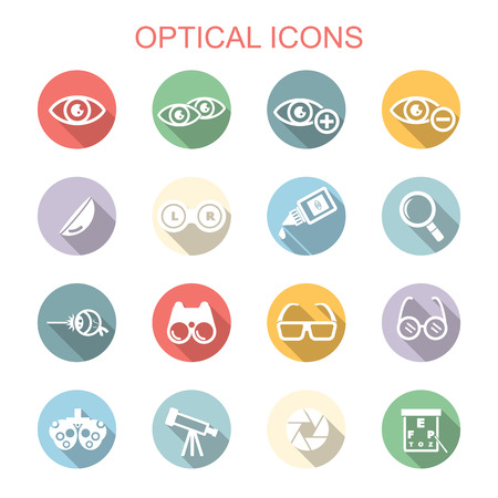 ocular: optical long shadow icons, flat vector symbols