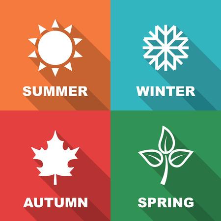 season long shadow flat, vector symbols Vector
