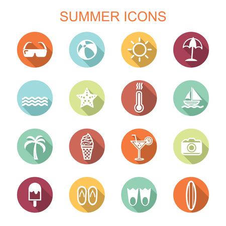 summer long shadow icons, flat vector symbols