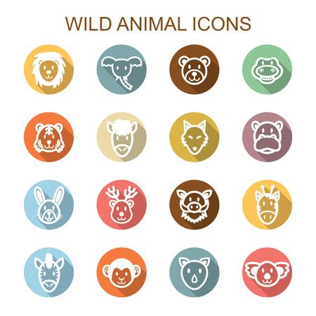 wild animal long shadow icons, flat vector symbols Vector