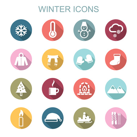 winter long shadow icons, flat vector symbols Vector