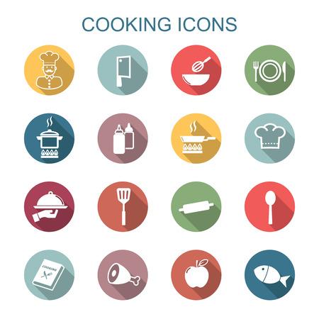 cocineros: cocina iconos sombra larga, símbolos vectoriales planos Vectores