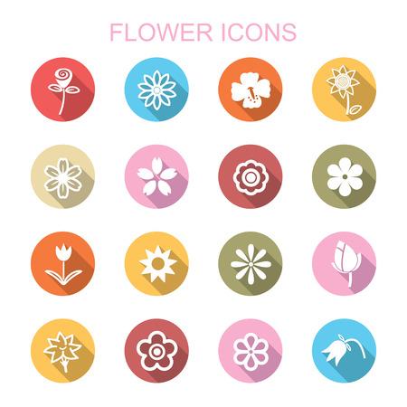 flower long shadow icons, flat vector symbols Vector