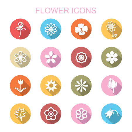 flower long shadow icons, flat vector symbols Vector