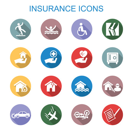 insurance protection: insurance long shadow icons, flat vector symbols