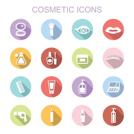 cosmetics: cosmetic long shadow icons, flat vector symbols