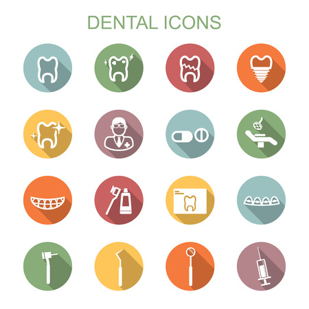 dental long shadow icons, flat vector symbols Vettoriali