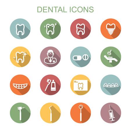 pasta de dientes: iconos dentales sombras largas, símbolos vectoriales planos