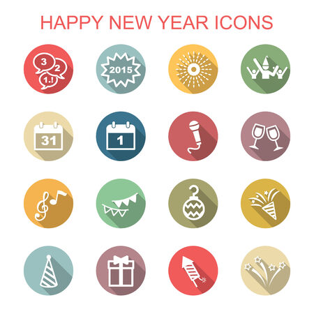 happy new year long shadow icons, flat vector symbols Vector