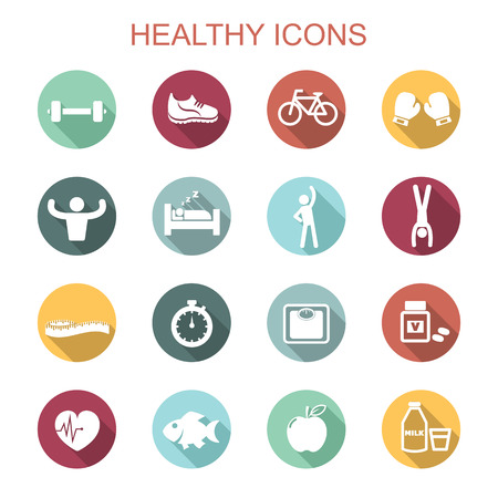 healthy long shadow icons, flat vector symbols Vettoriali