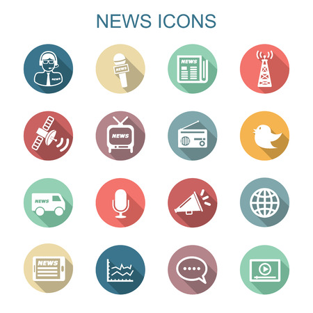 news van: news long shadow icons, flat vector symbols Illustration