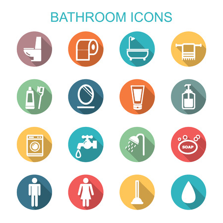 woman in bath: bathroom long shadow icons, flat vector symbols