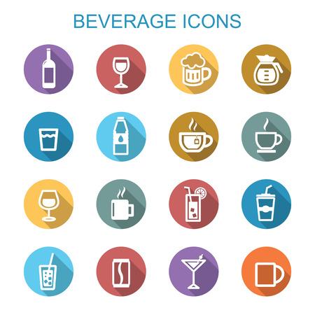 soda bottle: beverage long shadow icons, flat vector symbols Illustration