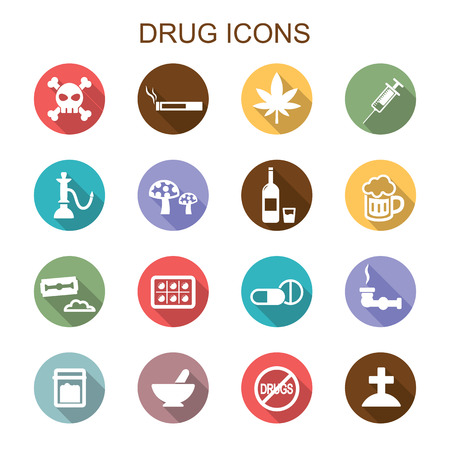 drug long shadow icons, flat vector symbols Иллюстрация