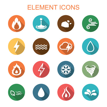 fire and water: element long shadow icons, flat vector symbols Illustration