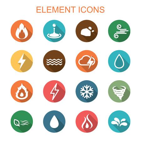 cuatro elementos: elemento iconos larga sombra, símbolos vectoriales planos