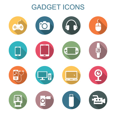 portable player: gadget long shadow icons, flat vector symbols Illustration
