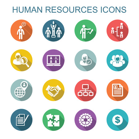 job descriptions: human resources long shadow icons, flat vector symbols