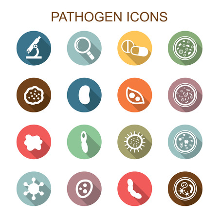 pathogen long shadow icons, flat vector symbols