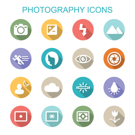 tungsten: photography long shadow icons, flat vector symbols Illustration