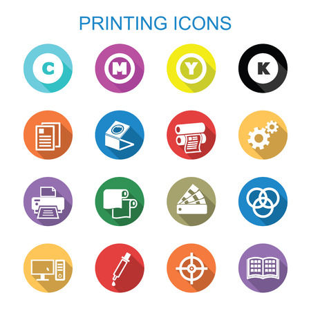 druckerei: Drucken langen Schatten Icons, Flachvektorsymbole