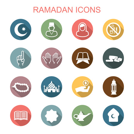 muslim celebration: ramadan long shadow icons, flat vector symbols