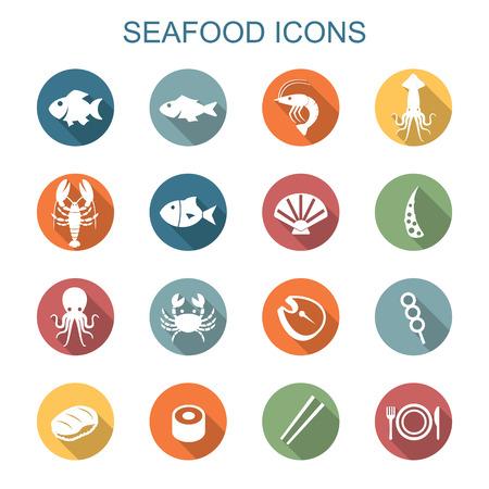logotipos de restaurantes: iconos mariscos sombra larga, símbolos vectoriales planos