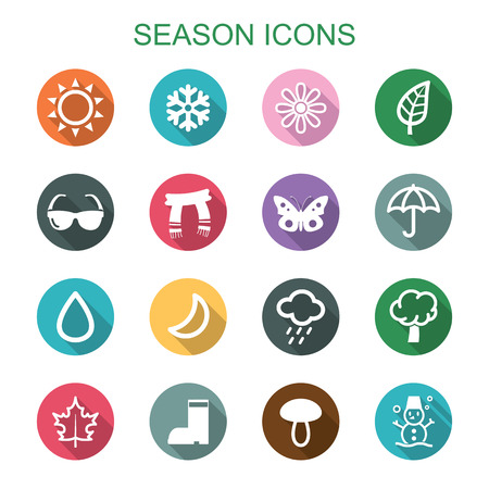 season long shadow icons, flat vector symbols Vector
