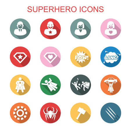 superhero long shadow icons, flat vector symbols Vettoriali