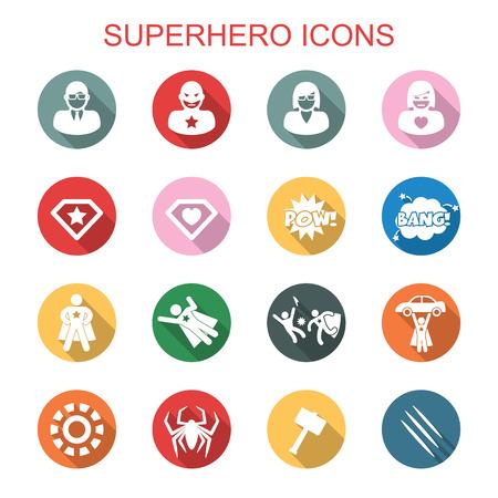 super man: superhero long shadow icons, flat vector symbols Illustration