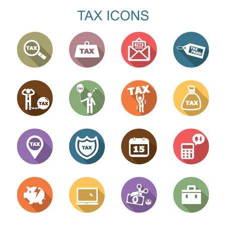 tax long shadow icons, flat vector symbols Stock Illustratie
