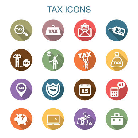 tax long shadow icons, flat vector symbols Vectores