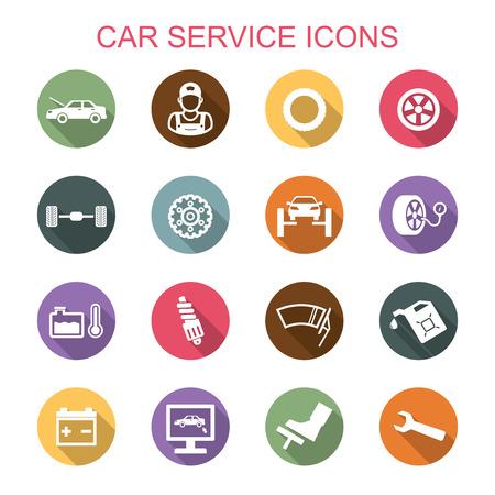 automotive mechanic: iconos larga sombra de servicio de coche, símbolos vectoriales planas