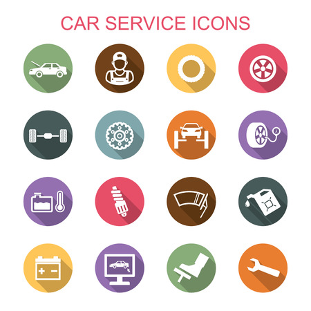 car service long shadow icons, flat vector symbols Vettoriali
