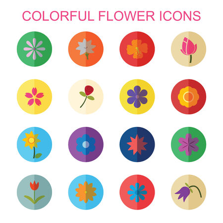 yellow daisy: colorful flower icons with shadow, flat vector symbols