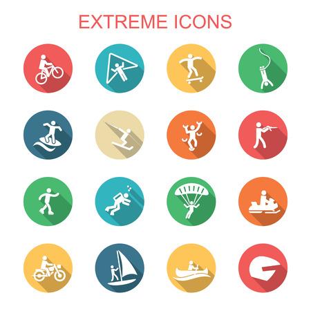 extreem lange schaduw iconen, platte vectorsymbolen
