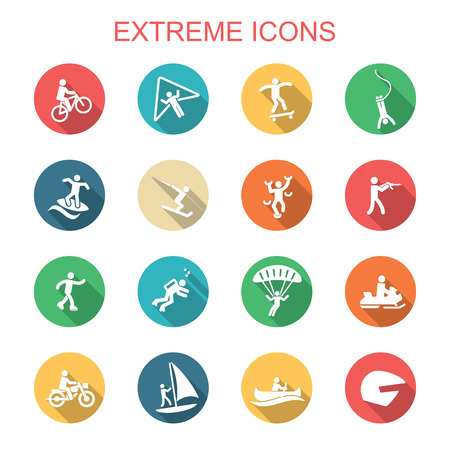extreme long shadow icons, flat vector symbols